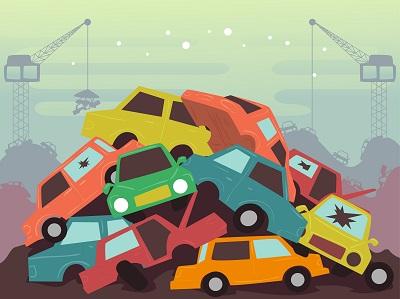 Sloopauto's op de autosloop