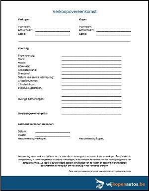 Voorbeeld verkoopovereenkomst auto PDF